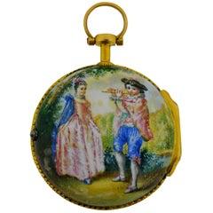 Verge Fusee Enamel Dial Keywind Porcelain Painted Back Pocket Watch