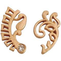 Rose Gold White Diamond Mismatched Fern Earrings