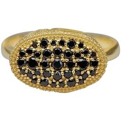Ornate Floral Black Diamond Yellow Gold Cocktail Ring
