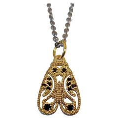 Luca Jouel Black Diamond Yellow Gold Palladium Moth Necklace