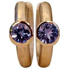 Tanzanite Rose Gold Petite Hoop Earrings