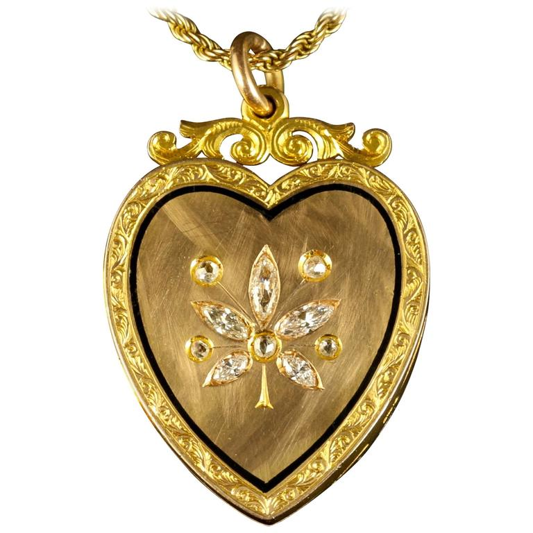 Antique Victorian Diamond Locket Heart Locket and Chain 15 Carat Gold
