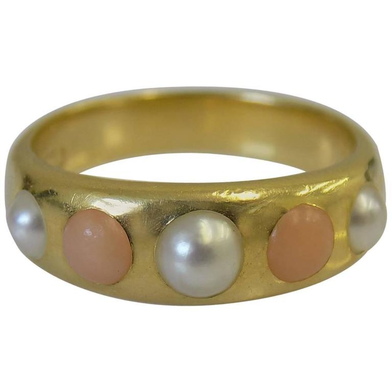 18K Coral Pearl Gold Band Ring