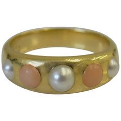 Coral Pearl Gold Band Ring