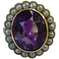 Victorian Amethyst Pearl Gold Cluster Ring