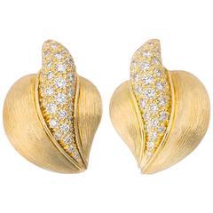 Henry Dunay Diamond Gold Earrings