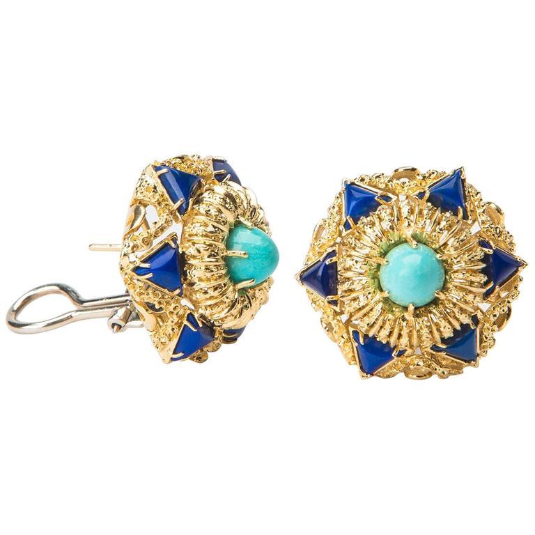 Elegant Turquoise Lapis Gold Earrings For Sale