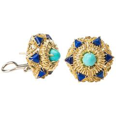 Elegant Turquoise Lapis Gold Earrings