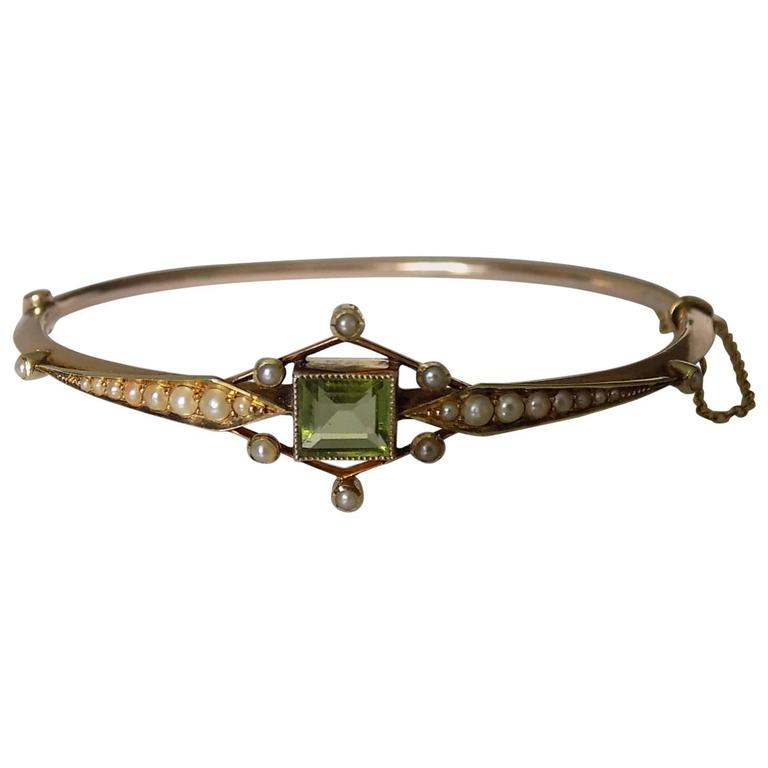 Antique Edwardian Peridot Pearl Gold Bangle Bracelet