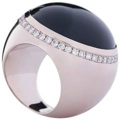 "Wagner Collection Ring ""Sphere"" White Gold Onyx Cabochon Diamonds"