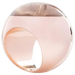 "Wagner Collection Ring ""Sphere"" Rosè Gold Smoky Quartz Cabochon"