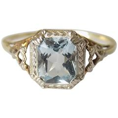 Art Deco Gold Aqua Crystal Solitaire Ring