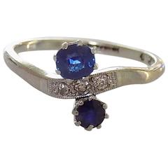 "Art Deco Gold Sapphire Diamond ""You and Me"" Ring"