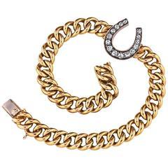 Edwardian Diamond Gold Lucky Horseshoe Link Bracelet