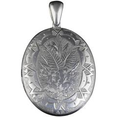 Antique Victorian Silver Locket Engraved, circa 1880