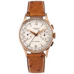 1950s Universal Geneve Gold Chronograph Uni-Compax Manual Wristwatch