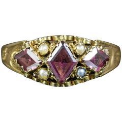Antique Georgian Garnet Pearl Ring Dated 1791