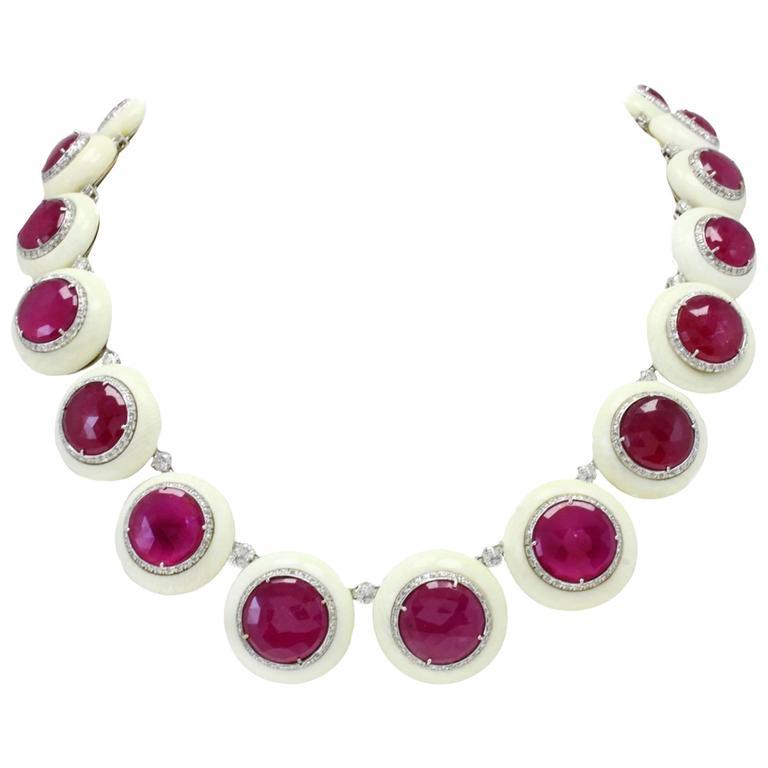 Gold Diamond Ruby Stone Link Necklace