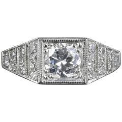 Antique Art Deco Diamond Engagement Ring Platinum, circa 1920