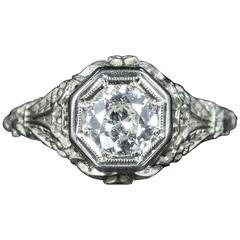 Antique Art Deco Diamond Engagement Ring 18 Carat White Gold 1.10 Carat Diamond