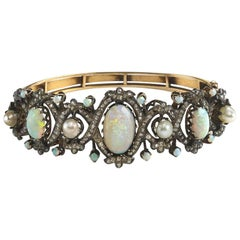 Pearl Opal Diamond Gold Bangle Bracelet