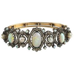 Pearl Opal Diamond Gold Bangle Bracelet