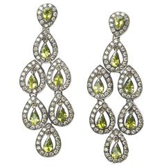 Antique peridot chandelier earrings 11 for sale at 1stdibs peridot diamond silver gold earrings mozeypictures Choice Image