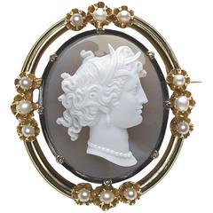 Pearl Diamond Gold Cameo Brooch