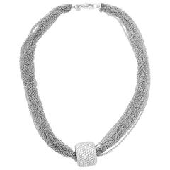 Diamond Pave White Gold Slide Necklace