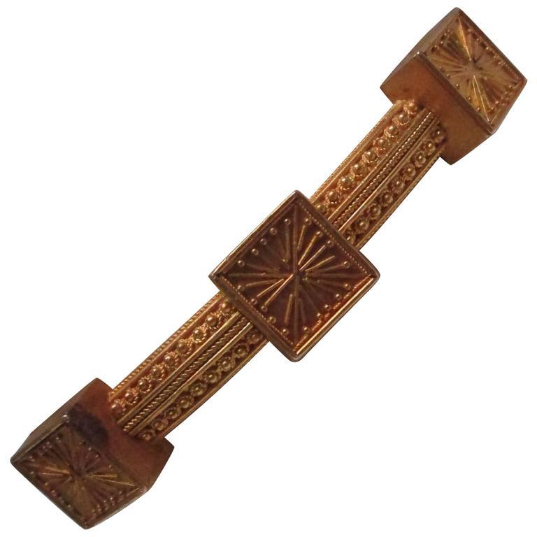 Etruscan Revival Gold Bangle Bracelet