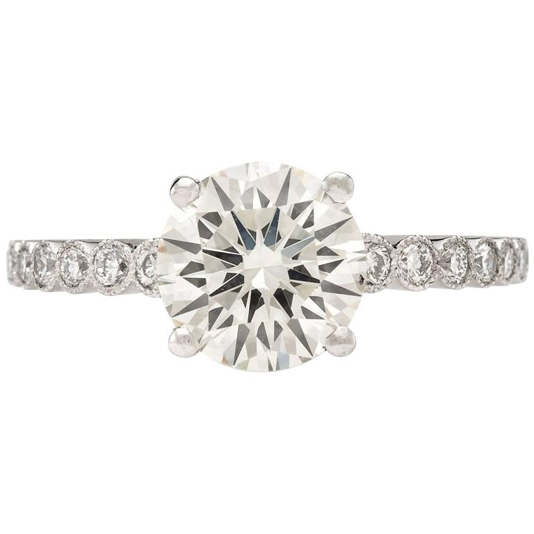 Custom French GIA 2.06 Carat Round Diamond Platinum Ring  For Sale