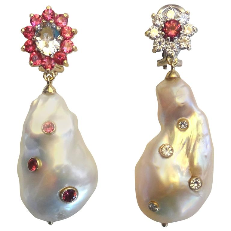 Michael Kneebone Spinel Sapphire Diamond Baroque Pearl Dangle Earrings