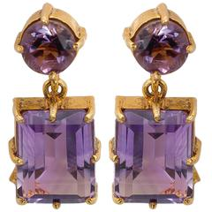 Round and Emerald Shaped Amethyst Gold Post Earrings
