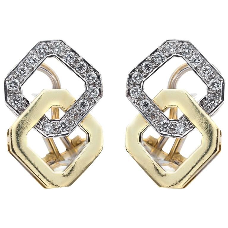 Diamond Mixed Metal White and Yellow Gold Post Stud Earrings