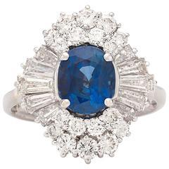 2 Carat Sapphire Diamond White Gold Cocktail Ring