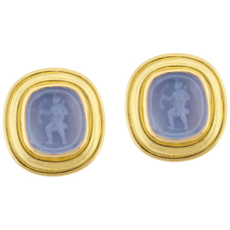 """Elizabeth Locke """"Pan"""" Venetian Glass Intaglio Earrings"""