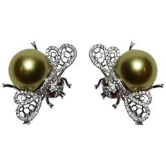 Pair South Sea Pearl Diamond 18K Gold Bumble Bee Brooch Pins Fine Estate Jewelry
