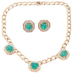 Emerald Diamond Yellow Gold Necklace and Earring Set