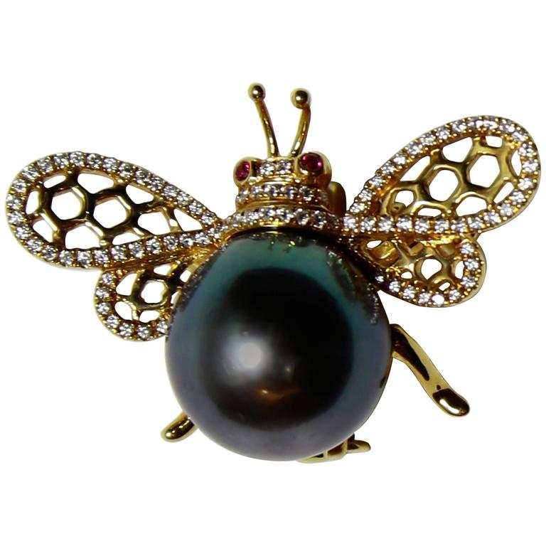 Black Tahitian South Sea Pearl Diamond Ruby Gold Bumble Bee Statement Brooch Pin