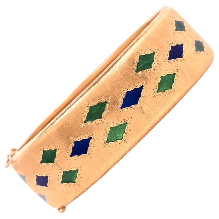 M. Buccellati Plique-a-Jour Enamel Gold Bangle Bracelet