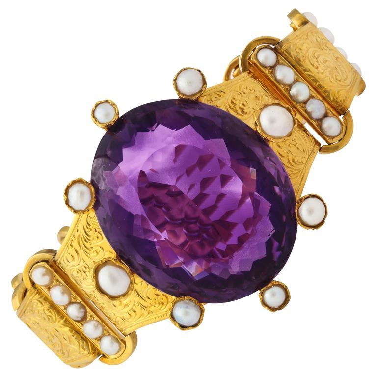 18 kt Victorian Amethyst Pearl Gold Bracelet 2
