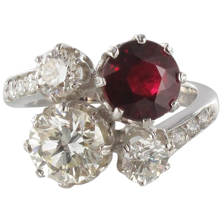 Ruby Diamond and White Gold Engagement Ring For Sale