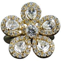 French Diamonds Yellow Gold Flower Ring