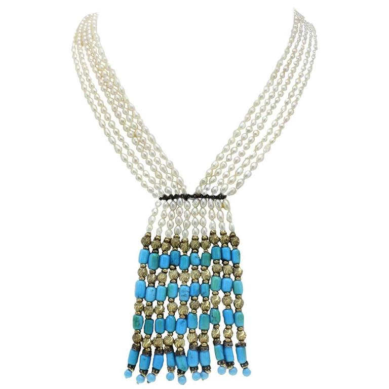 Luise Gold Diamond Pearl Turquoise Necklace