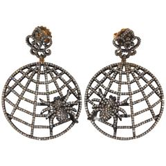 Diamond Spider Web Earrings