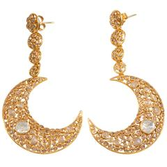 Diamond Gold Moon Earrings