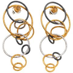 Silver Gold Hula Ring Earrings