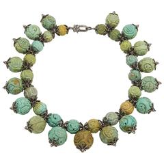 Carved Turquoise Diamond Collar Necklace