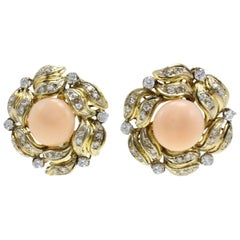 White Diamonds, Pink Coral Buttons, 18K Yellow Gold Clip-on Earrings