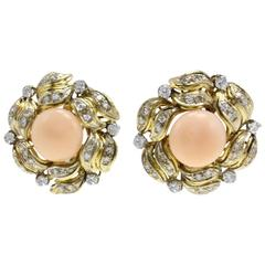 Coral Diamond Gold Clip-On Earrings
